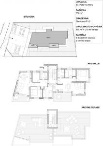 Sv. Petar III - zgrada sa 6 stanova za prodaju, situacija-tlocrti