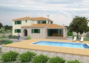 Vila s bazenom u Murvici, nenatkrivena terasa s bazenom