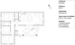 Posedarje - kamena kuća s bazenom za rentanje: tlocrt
